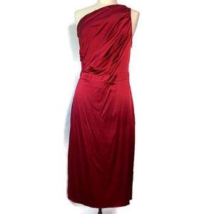 Maria BiancaNero Red Silk One Shoulder Mini Dress